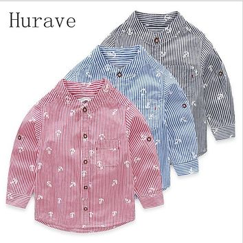 New Arrival Spring Kids classic Striped Clothes Boys Blouse Children's  Anchor Print  Long-sleeved Cotton Boys Shirt
