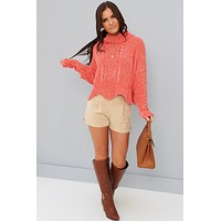 Lust For Life Turtle Neck Sweater (Coral)