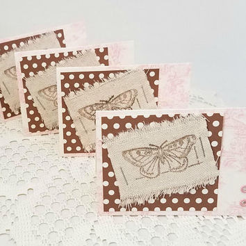 Butterfly Note Cards - Polka Dot Note Cards - Pink and Brown Note Cards - Note Card Set - Set of Four Note Cards - Hand Stamped Note Cards