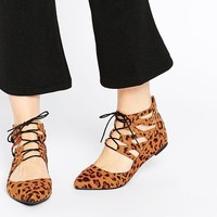 ASOS LEVEL UP Lace Up Ballet Flats