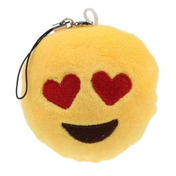 Emoji Emoticon Heart Eyes Key Chain Soft Toy Gift Pendant Bag Accessory