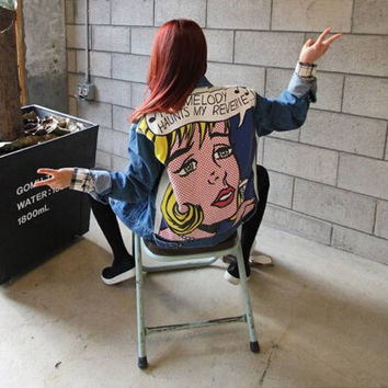 back doodle young girl head portrait denim color block punk outerwear bf HARAJUKU loose jeans Jacket