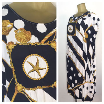 Vintage Nautical Kaftan, Navy Blue White Gold Shells Print, Nautical Print Tunic Dress, Preppy Kaftan, Cover Up Sleeveless Tunic Relaxed Fit