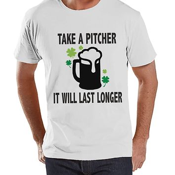 Men's St. Patrick's Day Shirt - Funny St. Patricks Shirt - Take A Pitcher - Beer Lover Gift Idea - Irish Drinking Shirt - Mens White T-Shirt