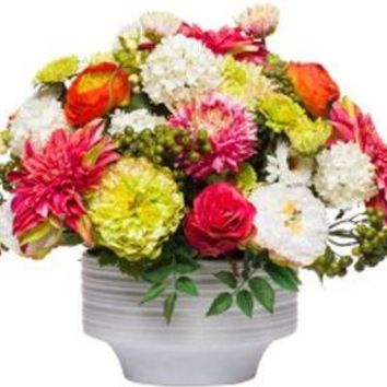 Mixed Floral In White Round Bowl