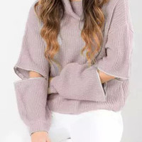 Peach Pink Zippered Long Sleeve Knitted Sweater