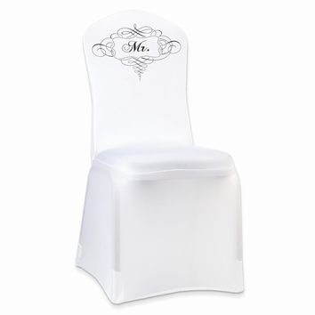 Stretchable White MR. Chair Cover - Perfect Wedding Gift