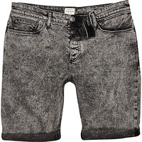 River Island MensBlack acid wash skinny denim shorts