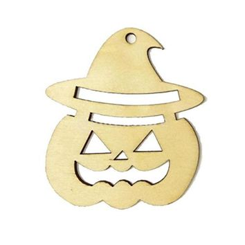 10pcs Wooden Tags Pumpkin Face Shape Wedding Party Easter Halloween Decoration Halloween Hanger Gift Tags Ornament