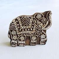 Indian Elephant Stamp, Indian Printing Block, Hand Carved Wooden Stamp, Textile Stamp, Ceramics or Pottery Stamp, Lucky Feng Shui Symbol