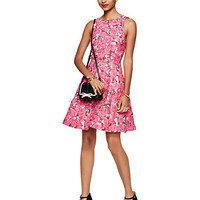 Kate Spade Rose Brocade Open Back Dress Pink Multi