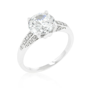 Carmela Contemporary Round Solitaire Ring | 4ct | Cubic Zirconia