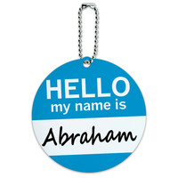 Abraham Hello My Name Is Round ID Card Luggage Tag