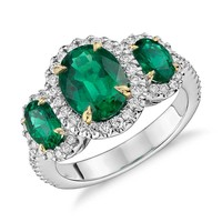 Three Stone Emerald and Diamond Halo Ring in 18k White and Yellow Gold (2.95 ct. tw.) | Blue Nile