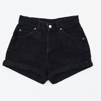Levis High Waisted Denim Shorts Cuffed Rolled Black Denim Shorts / Plain Black Shorts / Black Shorts / Black Denim Shorts / Womens 00 - 20