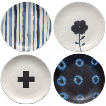 Rae Dunn Indigo Plates, Set of 4