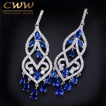 CWWZircons European Blue Cubic Zirconia Crystal Tassel Dangle Drop Long Chandelier Earring Wedding Prom Jewelry For Women CZ116