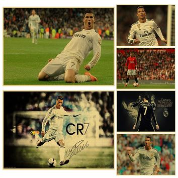 Soccer player cristiano ronaldo poster wall art print painting Football Real Madrid paper poster Kid Bedroom decor