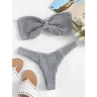 Smocked Knot Front Bandeau With High Cut Bikini