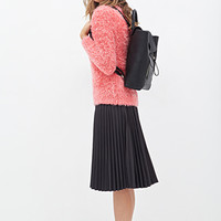 FOREVER 21 Shaggy Round Neck Sweater Coral/Pink