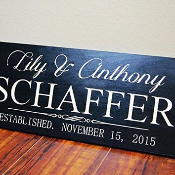 CHRISTMAS GIFT FAST SHIPPING Personalized Family Name Sign Wedding Gift Custom Carved Wooden Signs Last Name Décor Established Wood Plaque Engraved .sign#259