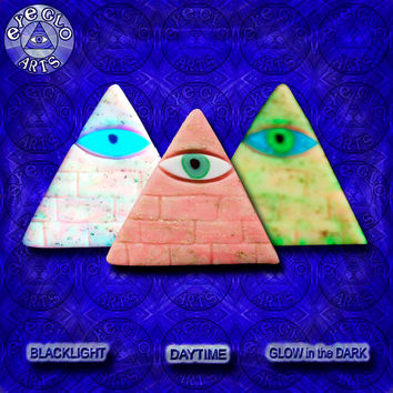 EyeGloArts American Made Gold Leaf & Glow in the Dark Pendant Illuminati All Seeing Eye Pyramid in peachy pink and aqua Party Favors