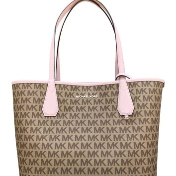 Michael Kors Candy Large Reversible Tote Brown Khaki Signature Blossom Pink Pouch