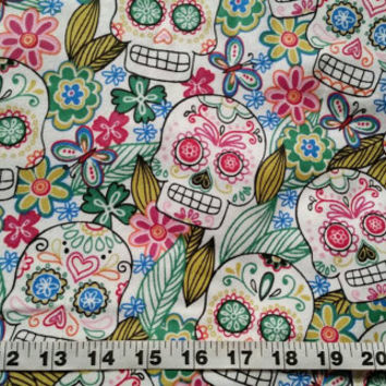 Floral Flannel fabric with skulls flowers Day of the Dead cotton print quilt sewing material sew crafting by the yard BTY sugar skull fabric