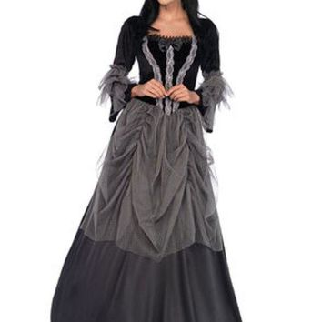 Velvet And Satin Victorian Ball Gown In Black/grey