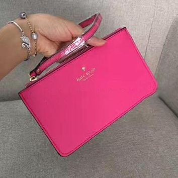Kate Spade Fashion Simple Zipper Wrist Bag Handbag Wallet Rose red (22 Color)