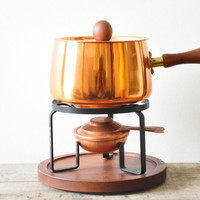 Mid Century Modern Copper Fondue Set // Made in Japan
