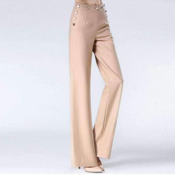 Womens Wool Blended Button Full Length Pants