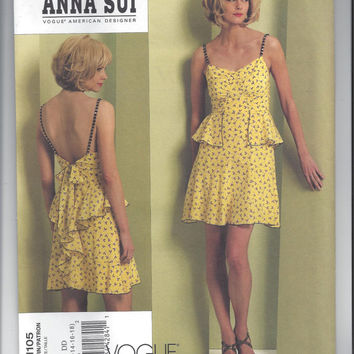 Vogue 1105 Pattern for Misses' Summer Dress by Designer Anna Sui - FACTORY FOLDED and UNCUT, From 2009