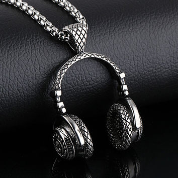 Hip Hop men's stainless steel music headphone necklace
