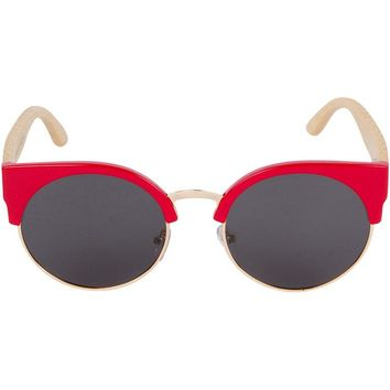 Red Cat Eye Bamboo Wood Sunglasses