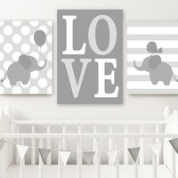 Boy ELEPHANT Nursery Wall Art Canvas or Prints Twin Baby Boy Elephant Decor, Twin Bedroom Decor, GRAY Love Elephant Wall Decor Set of 3
