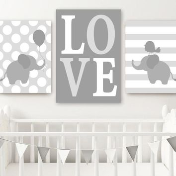 Boy ELEPHANT Nursery Wall Art, Canvas or Prints, Twin Baby Boy Elephant Decor, Twin Bedroom Decor, GRAY Love Elephant Wall Decor Set of 3