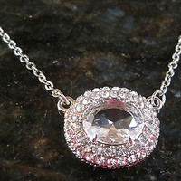 Carolee~Silver~Oval Cut Clear Glass Stone Prism Pendant~Chain Necklace~Bridal
