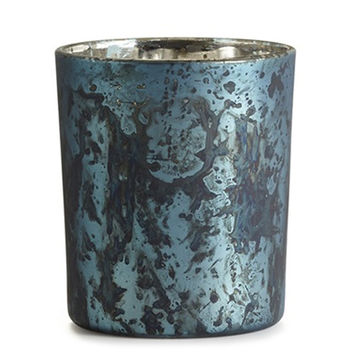 Blue Coral Mercury Glass Candle
