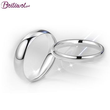 Beiliwol Silver Color Men Wedding Rings for Women Fashion Stainless Steel Simple Couple Ring Children Jewelry Forever Love Sale