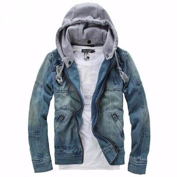 COMLESS Jeans Jacket Men 2018 Fashion Mens Casual Denim Jackets Autumn Spring Hoodies Outerwear Plus Size 5XL Male Hooded Jakcet