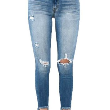 DCCKAB3 Kan Can Medium Wash Chelsi Distressed Ankle Skinny Jeans