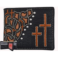 Black Mens Cross Logo Western Credit Card ID Holder Bifold Wallet Cowboys W057-BK-BR (C)