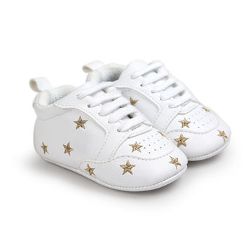 Baby Shoes Newborn Boys/ Girls Heart Star Pattern First Walkers Kids Toddlers Lace Up PU Sneakers