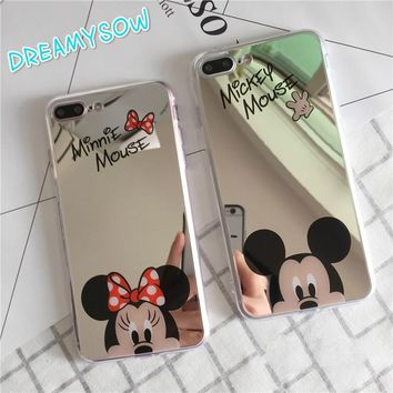 Cute Hello Kitty Micky Minnie Mouse Mirror Phone Luxury TPU Capa Soft Silicone Case For Samsung S9 S8 PLUS NOTE8 Shell Cover