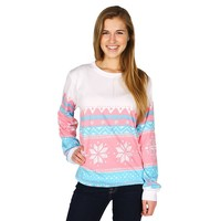Christmas Sweater Long Sleeve Tee Shirt in Pink Snowflake by Lauren James - FINAL SALE
