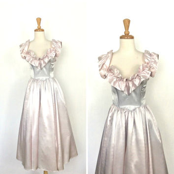 Vintage 1980s Party Dress - fit and flare - ball gown - satin - prom - tea dress - Gunne Sax - pink and blue - wedding dress - Small