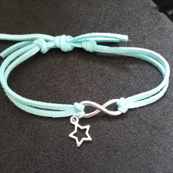 The Fault In Our Stars Inspired Suede Cord Bracelet - Infinity + Star