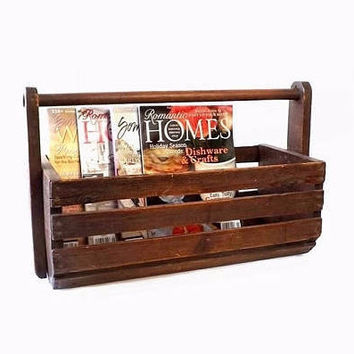 Large Primitive Slat Wood Tote, Magazine Holder