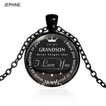 JEPHNE To My Grandson Necklace I love you Grandson Gifts from Grandpa Grandma Believe in yourself Inspirational Jewelry Gifts